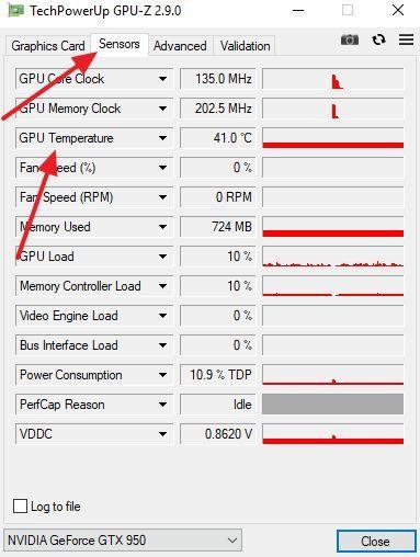 температура GPU в GPU-Z