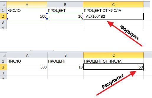 формула с адресом ячейки