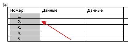 автоматическая нумерация строк в таблице