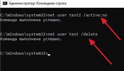 отключение и удаление пользователя через командную строку