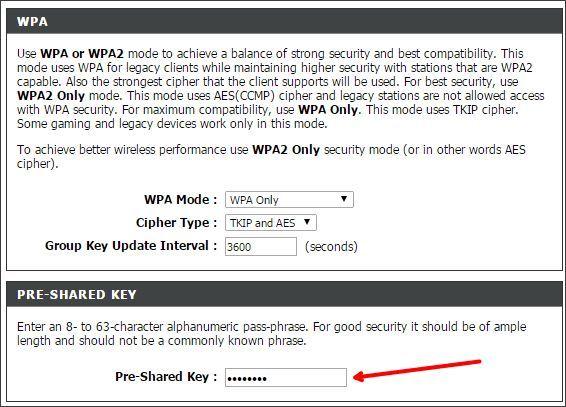 изменяем пароль от Wifi на D-link