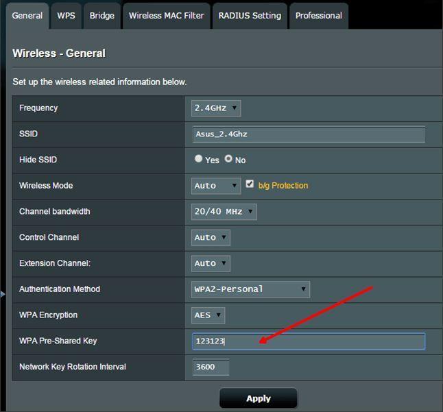 изменяем пароль от Wifi на ASUS