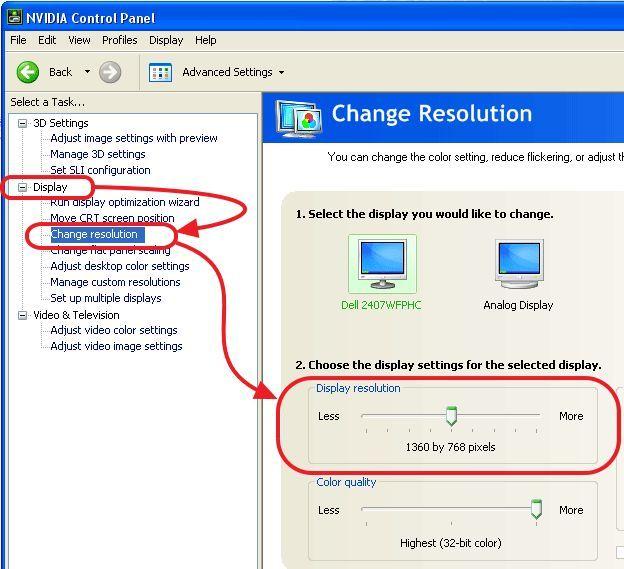 изменяем разрешение экрана в Nvidia Control Center