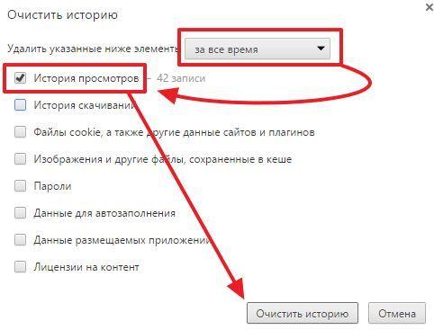 процесс очистки истории в Google Chrome