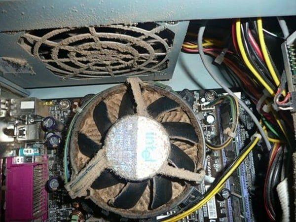пыль на радиаторе процессора