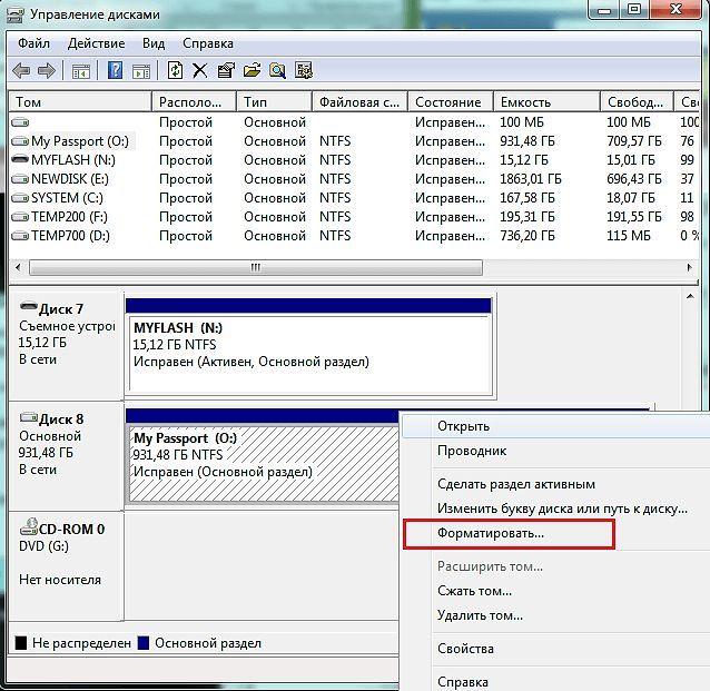 форматирование внешнего диска через управление дисками