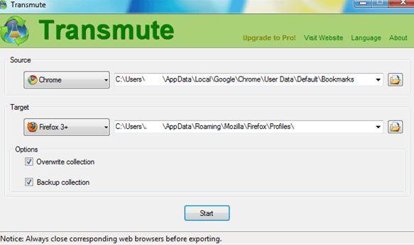 Как перенести закладки из одного браузера в другой: Программа Transmute