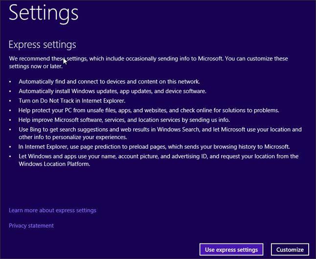 нажимаем на кнопку Use express settings