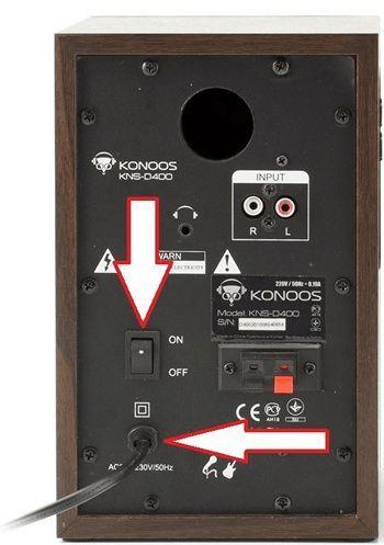 подключите колонки к электропитанию