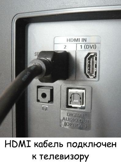 HDMI подключен к телевизору