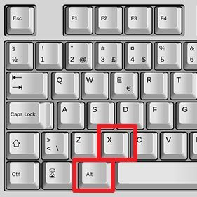комбинация клавиш ALT+X
