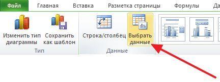 кнопка Выбрать данные