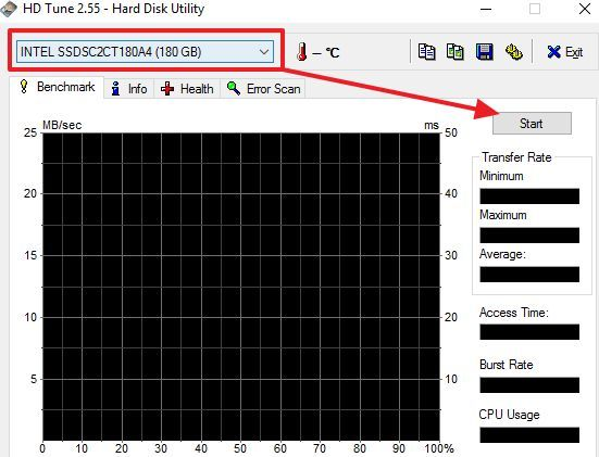 выбор диска и кнопка Start в программе HD Tune