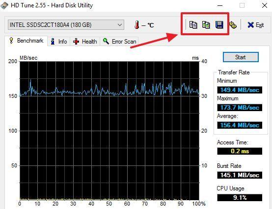 кнопки для сохранения отчета о тестировании в программе HD Tune