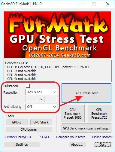 запускаем стресс-тестирование видеокарты