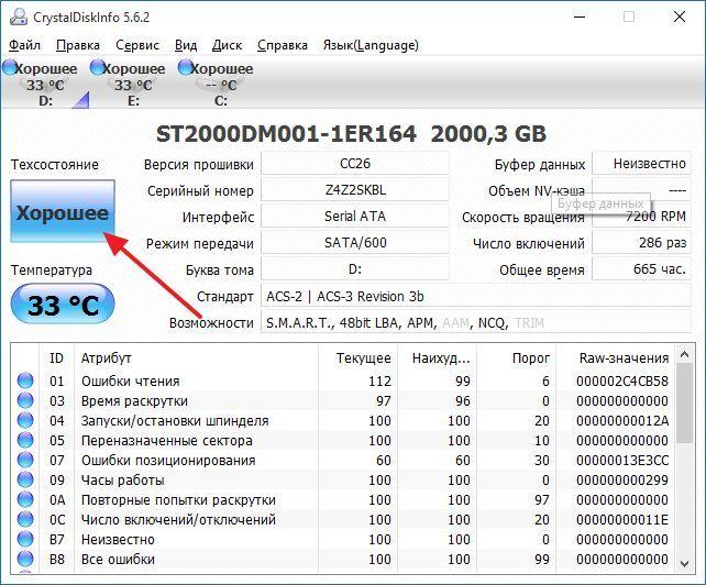 оценка техсостоянии жесткого диска в CrystalDiskInfo