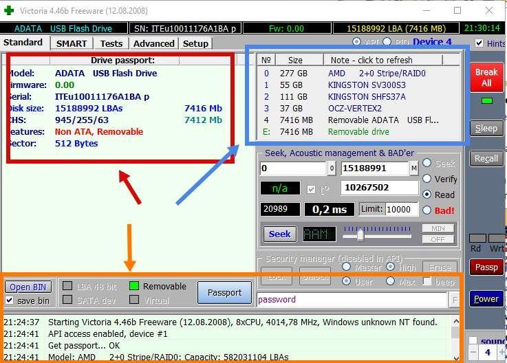 окно программы Victoria 4.46 на вкладке Standart