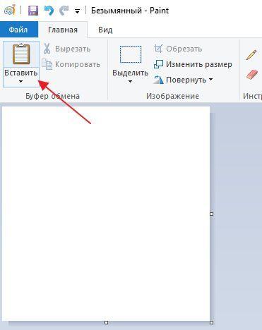 вставка скриншота в программу Paint