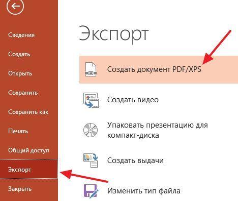 сохранение презентации в формате PDF