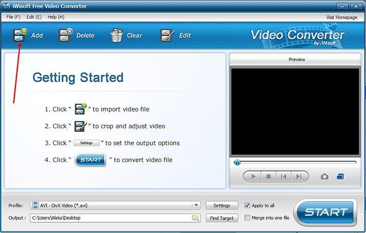 добавьте файл для сжатия видео