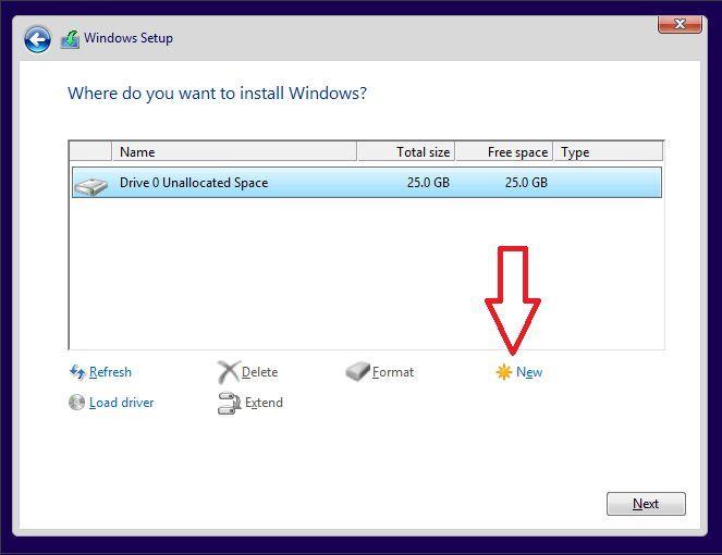 создаем раздел для установки Windows 10