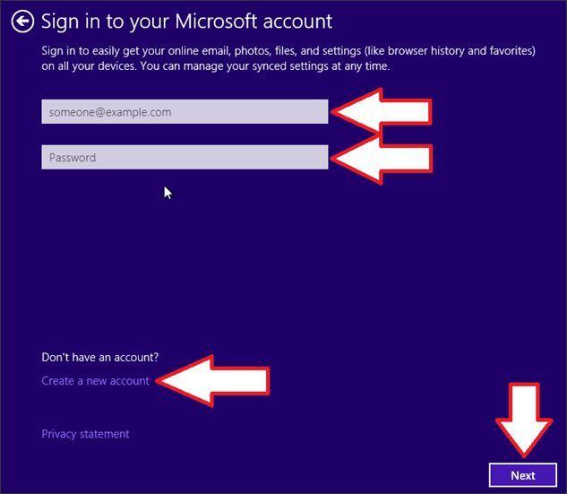 входим в свой аккаунт Microsoft