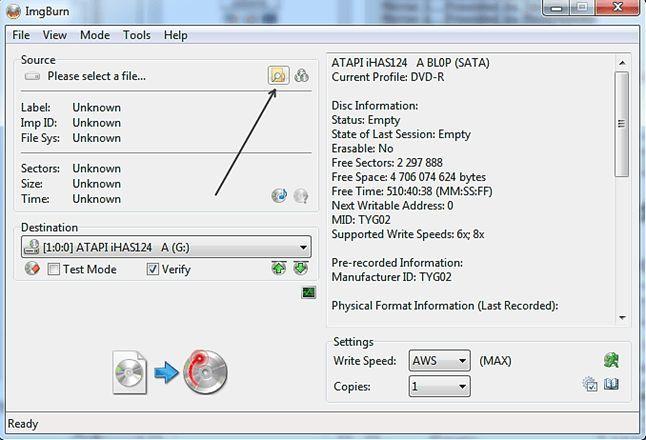 выбираем ISO файл с Windows 10