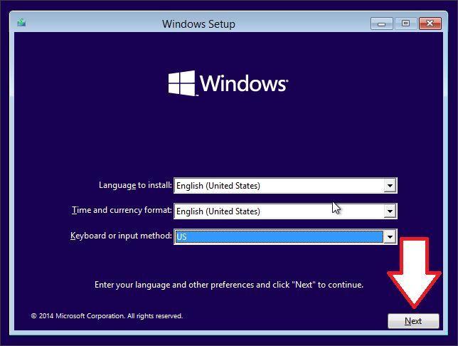 запускаем установку Windows 10