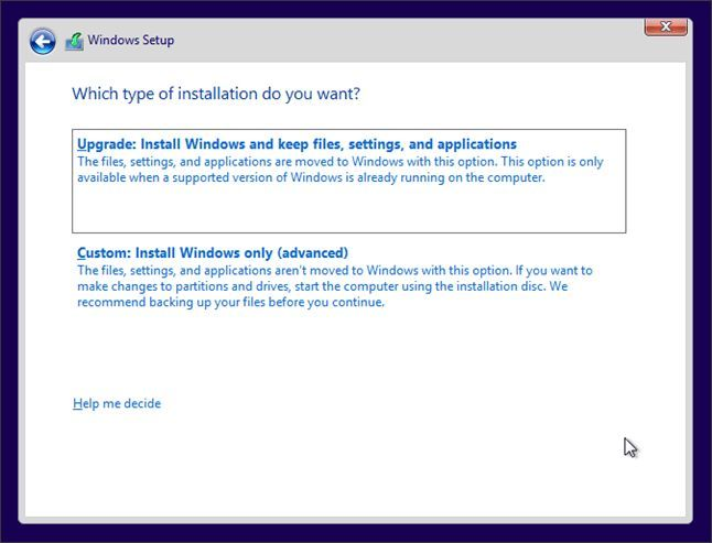 выбор способа установки Windows 10