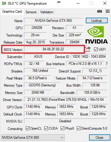 версия BIOS видеокарты