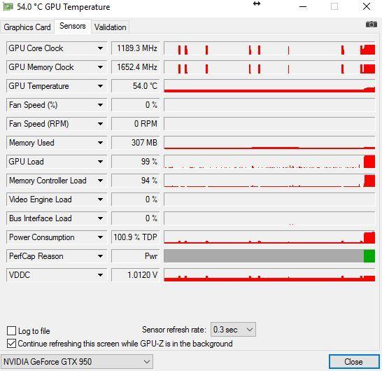 параметры на вкладке Sensors