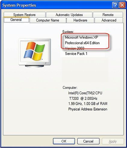 Как узнать разрядность операционной системы Windows XP