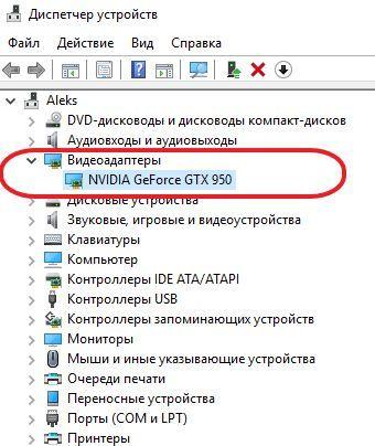 видеокарта в Диспетчере устройств