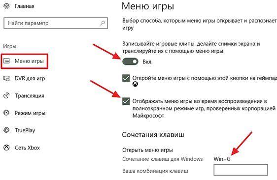 опции отвечающие за запись игровых клипов и игровое меню