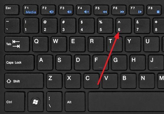 символ ^ на клавиатуре
