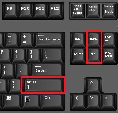 Выделение текста с помощью клавиш End и Home