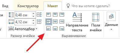 кнопки для выравнивания текста в таблице