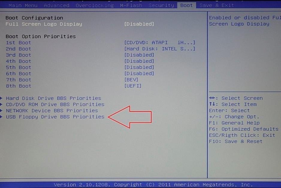 раздел BOOT в BIOS