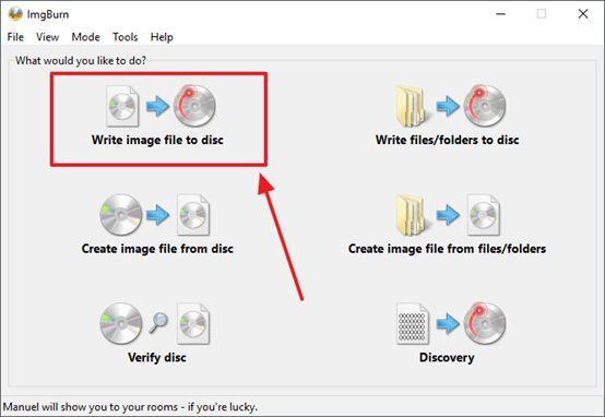 нажмите на кнопку Write image file to disk