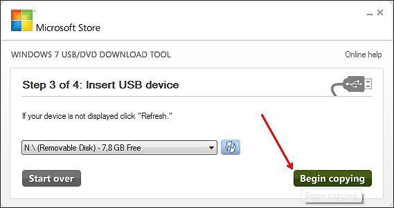 выбираем флешку для записи Windows 8