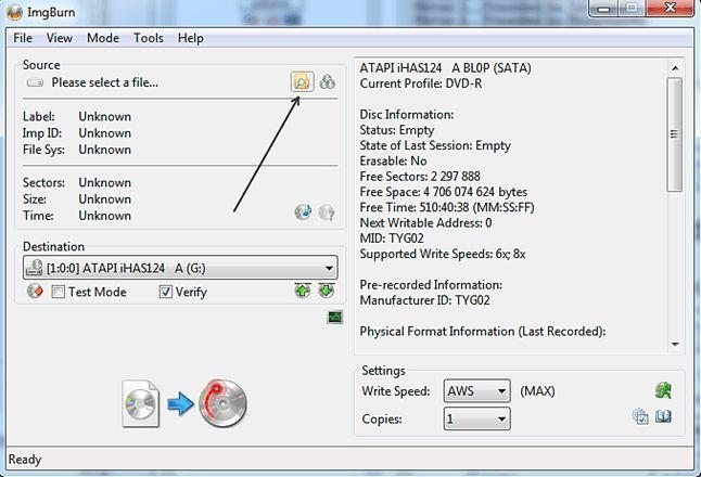Как записать загрузочный диск с помощью ImgBurn
