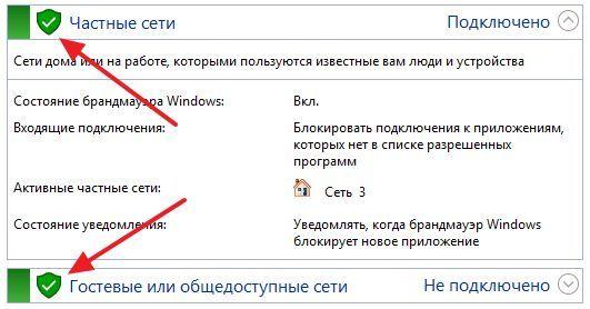 Брандмауэр Windows включен