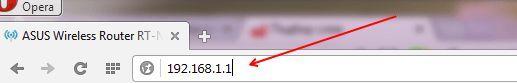 ввод ip-адреса роутера в адресную строку браузера