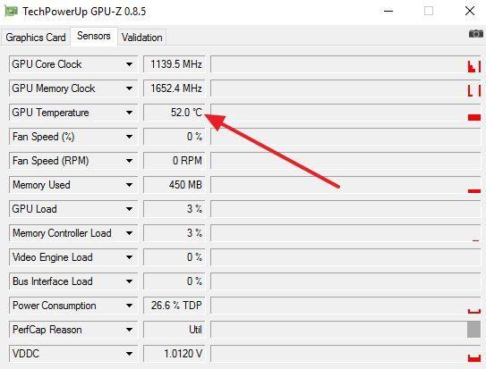 температура видеокарты в GPU-Z