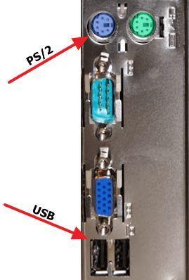 разъемы PS/2 и USB для подключения клавиатуры