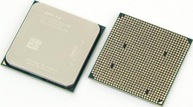 Процессор AMD FX с передней и тыльной стороны