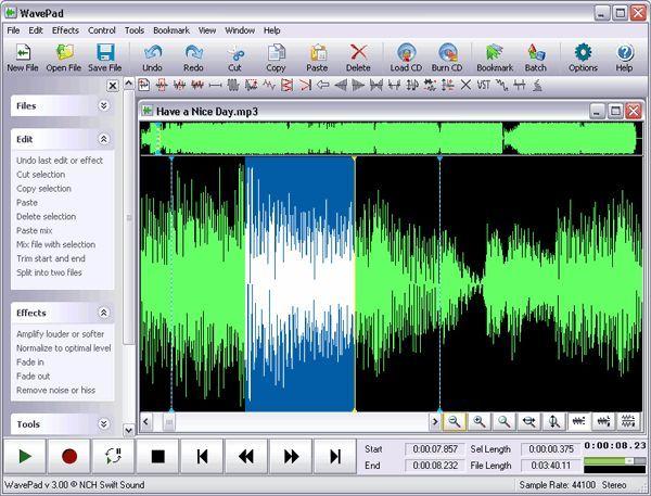 Программа для нарезки музыки: WavePad