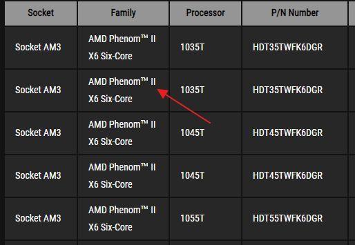 список поддерживаемых процессоров на сайте производителя материнской платы