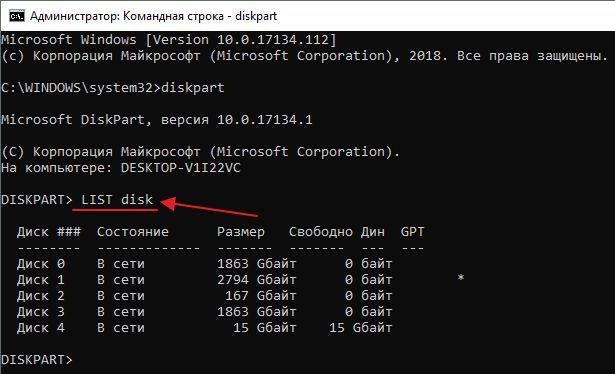 выполнение команды LIST disk
