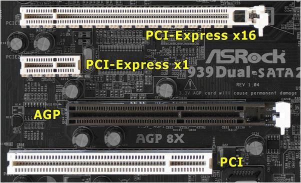разъемы PCI Express и AGP
